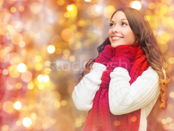 Boldog nő sál ujjatlan kesztyűk fények tél Stock fotó © dolgachov