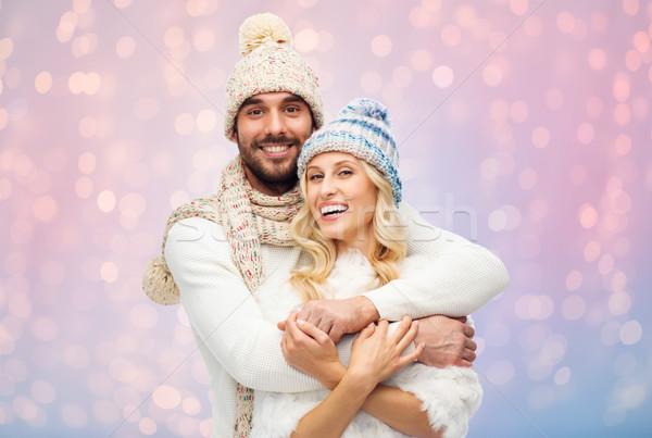 Sorridente casal inverno roupa moda Foto stock © dolgachov