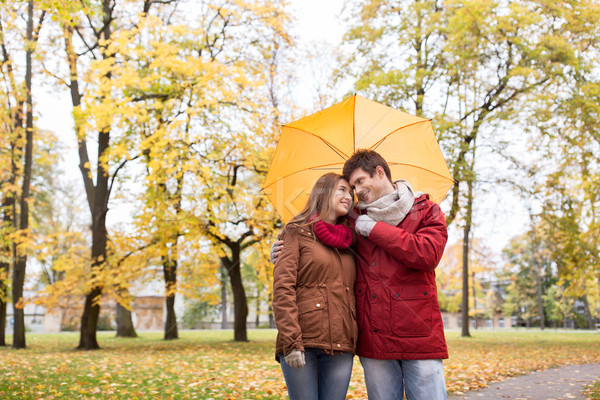 Souriant couple parapluie automne parc amour Photo stock © dolgachov