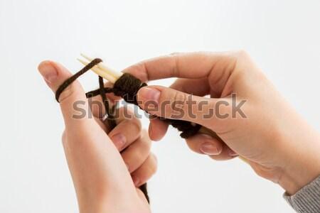 ストックフォト: 手 · 針 · 糸 · 人