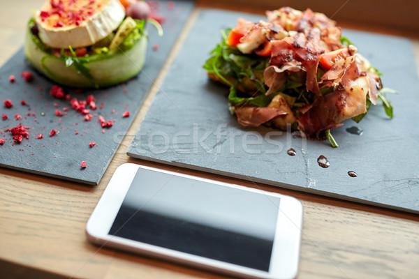 ヤギ乳チーズ ハム スマートフォン カフェ 食品 食べ ストックフォト © dolgachov
