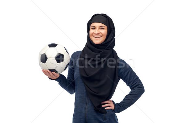 счастливым мусульманских женщину хиджабе футбола спорт Сток-фото © dolgachov