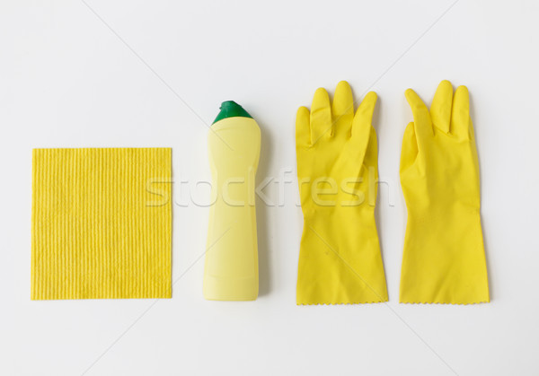 detergent with cleaning stuff on white background Stock photo © dolgachov