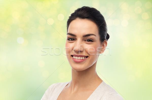 幸せ 笑みを浮かべて 若い女性 ブレース 歯科 肖像 ストックフォト © dolgachov