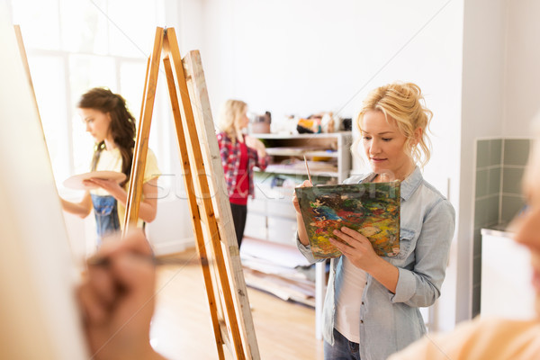 woman artist with easel painting at art school Stock photo © dolgachov