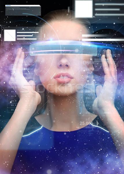 Mulher virtual realidade óculos 3d gráficos ciência Foto stock © dolgachov