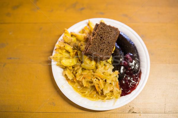 Kool worstjes saus plaat voedsel eten Stockfoto © dolgachov