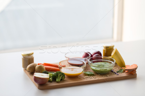 vegetable puree or baby food in glass bowls Stock photo © dolgachov