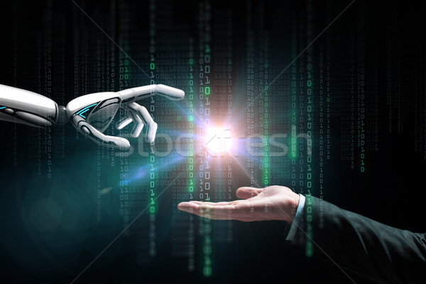 robot and human hand flash light and binary code Stock photo © dolgachov