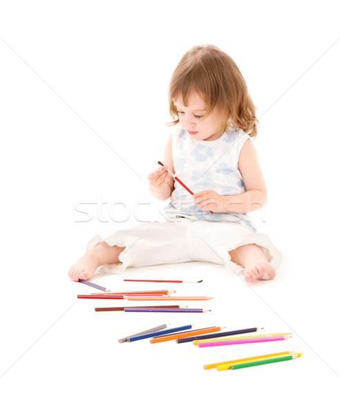 Stok fotoğraf: Küçük · kız · renk · kalemler · resim · beyaz · çocuk