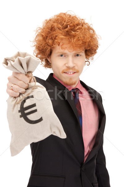 man with euro signed bag Stock photo © dolgachov