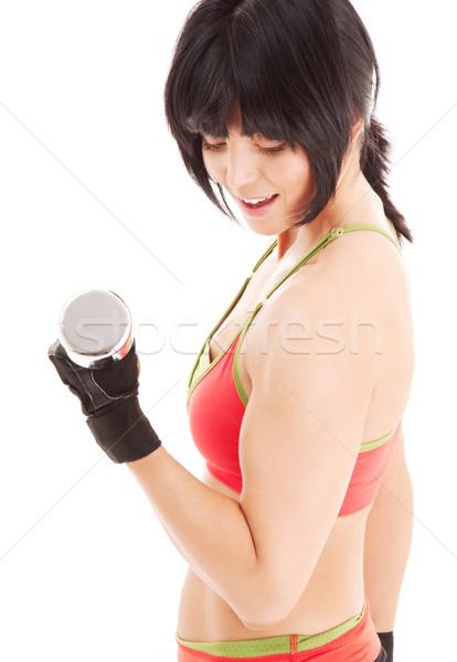 筋肉の フィットネス インストラクター ダンベル 白 幸せ ストックフォト © dolgachov