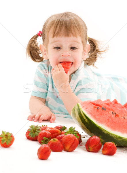 little girl with strawberry and watermelon Stock photo © dolgachov