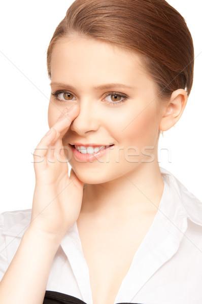 Potins lumineuses photos adolescente chuchotement femme Photo stock © dolgachov