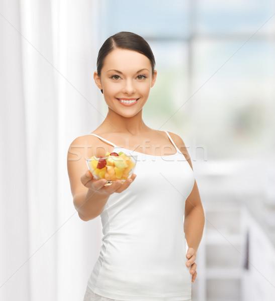 Stok fotoğraf: Sağlıklı · kadın · çanak · meyve · salatası · resim