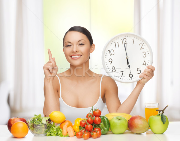 woman with fruits, vegetables and clock Stock photo © dolgachov