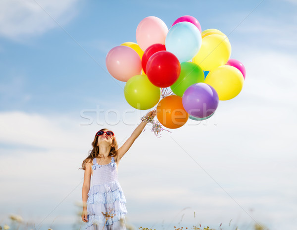 Foto stock: Menina · feliz · colorido · balões · verão · férias · celebração