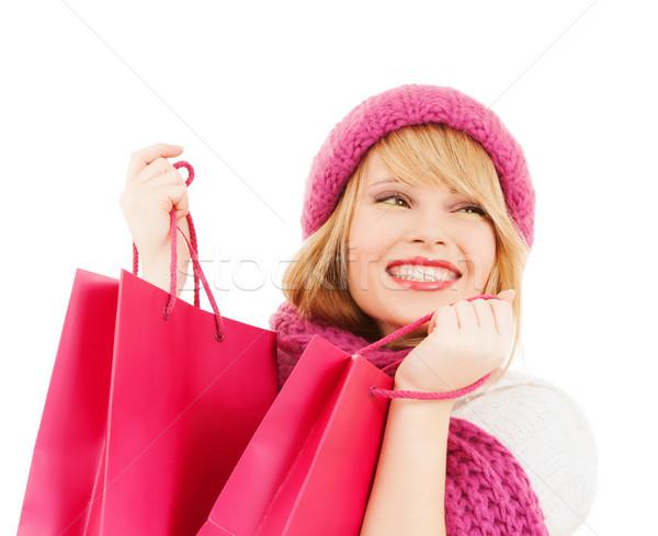 Kadın pembe şapka eşarp kış Stok fotoğraf © dolgachov