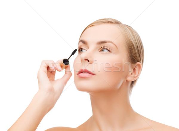 Bela mulher rímel cosméticos saúde beleza preto Foto stock © dolgachov