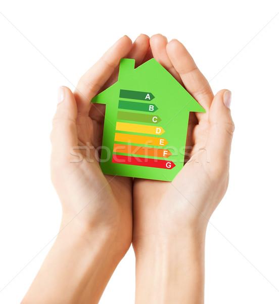 Manos verde papel casa energía Foto stock © dolgachov