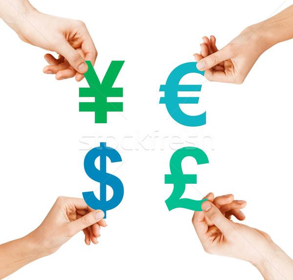 четыре рук валюта инвестиции Сток-фото © dolgachov