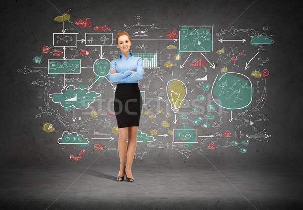 Photo stock: Jeunes · souriant · femme · d'affaires · bras · affaires · éducation