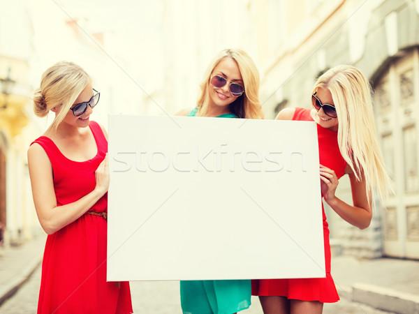 Három boldog szőke nő nők fehér tábla nyár Stock fotó © dolgachov