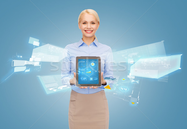 女性実業家 ホログラム ビジネス インターネット ストックフォト © dolgachov