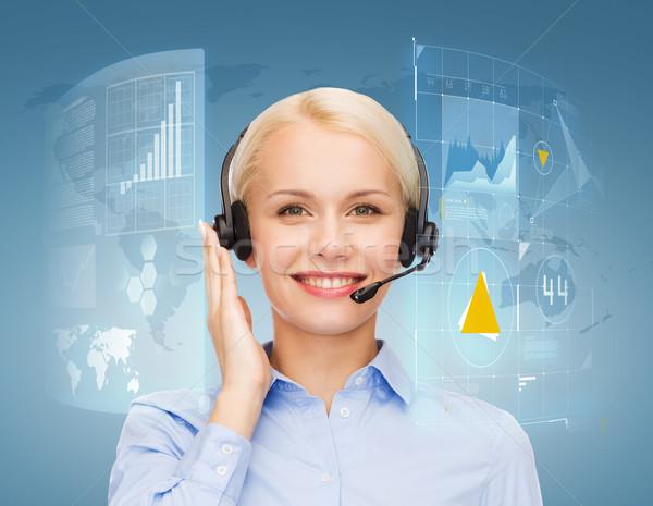 優しい 女性 ヘルプライン 演算子 ビジネス 技術 ストックフォト © dolgachov