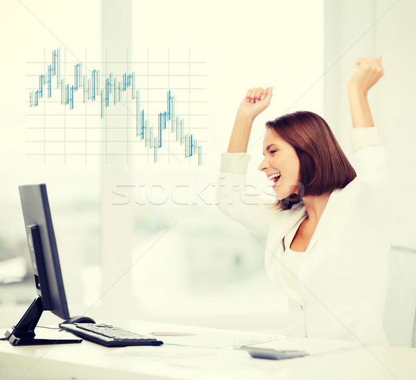 businesswoman with computer in office Stock photo © dolgachov