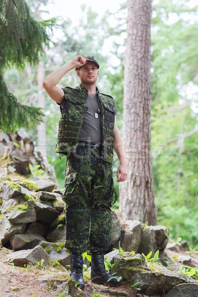 小さな 兵士 森林 戦争 軍 人 ストックフォト © dolgachov