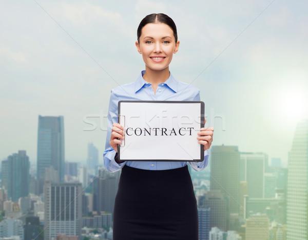 Glimlachend zakenvrouw contract zakenlieden werk recht Stockfoto © dolgachov