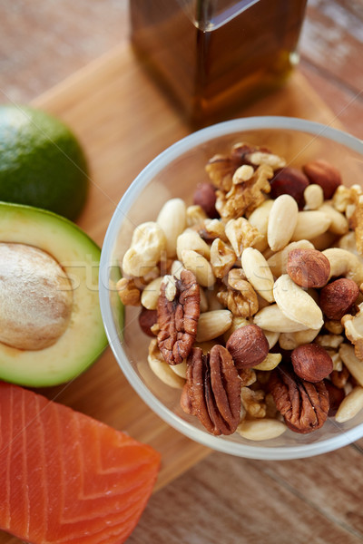 close up of nut mix in glass bowl on table Stock photo © dolgachov