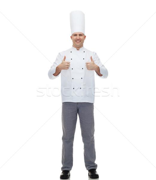 Foto stock: Feliz · masculina · chef · cocinar