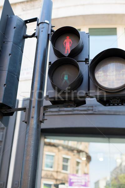 Rood voetganger verkeerslichten snelweg code verkeer Stockfoto © dolgachov