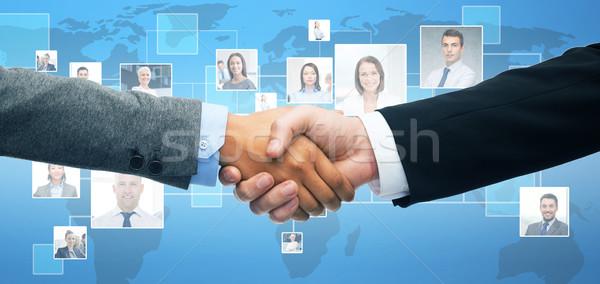 Zdjęcia stock: Biznesmen · kobieta · interesu · drżenie · rąk · działalności · biuro · kobieta