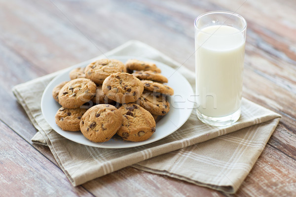 close up of chocolate oatmeal cookies and milk Stock photo © dolgachov