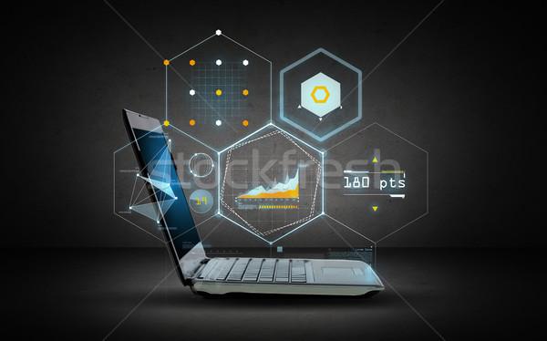 Dizüstü bilgisayar sanal grafik projeksiyon teknoloji gelecek Stok fotoğraf © dolgachov