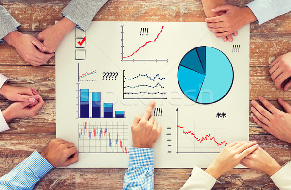 close up of business team with charts at table Stock photo © dolgachov