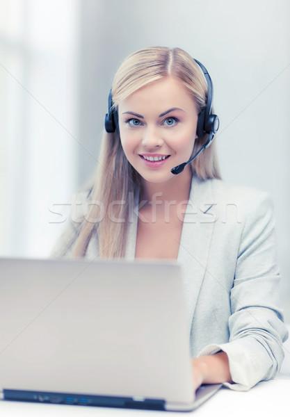 優しい 女性 ヘルプライン 演算子 ノートパソコン 笑みを浮かべて ストックフォト © dolgachov