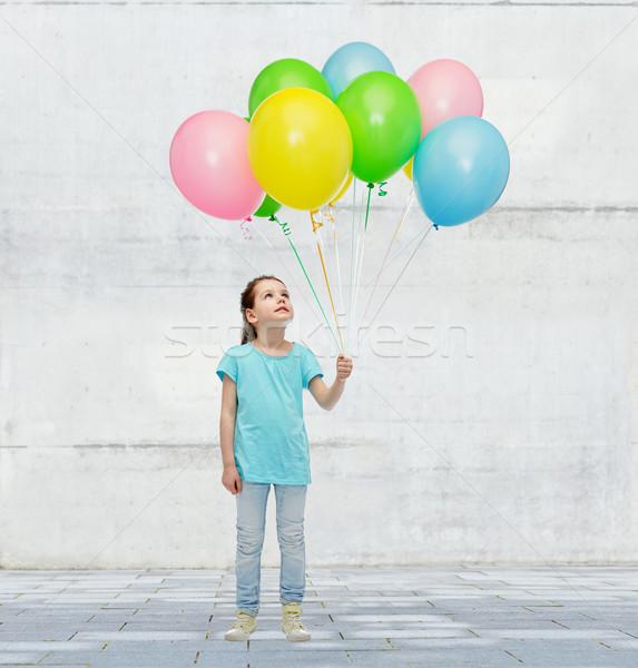 Photo stock: Fille · hélium · ballons · enfance