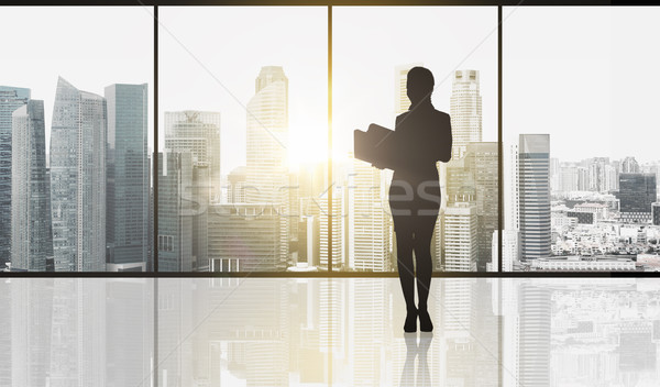 silhouette of business woman with folders Stock photo © dolgachov