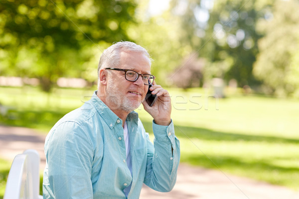 Altos hombre llamando verano parque Foto stock © dolgachov