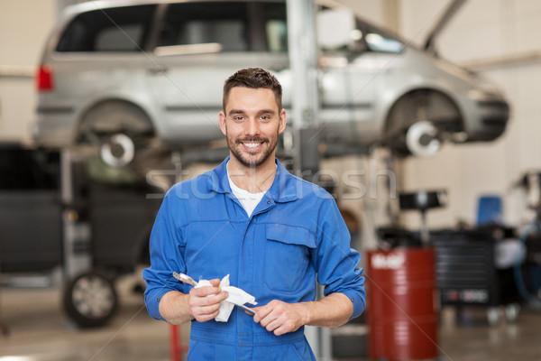 Photo stock: Mécanicien · automobile · clé · voiture · atelier · Ouvrir · la · réparation