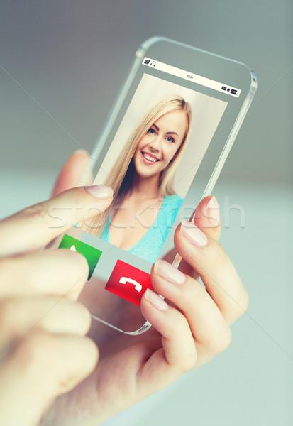 Сток-фото: женщину · вызова · смартфон · бизнеса · технологий