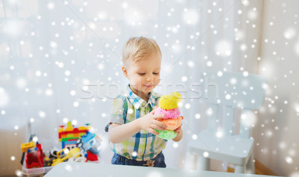 счастливым мало ребенка мальчика мяча глина Сток-фото © dolgachov