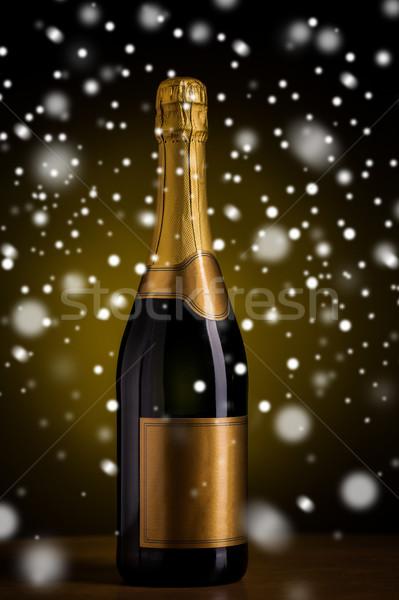 Stok fotoğraf: şişe · şampanya · altın · etiket · kar · içmek