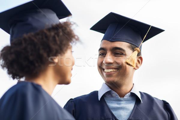 Glücklich Studenten Junggesellen Bildung Abschluss Menschen Stock foto © dolgachov