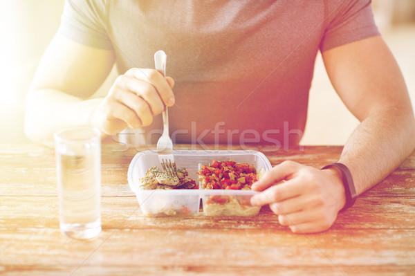 男 フォーク 水 食べ 食品 ストックフォト © dolgachov