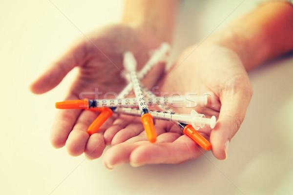 女性 手 インスリン 薬 ストックフォト © dolgachov